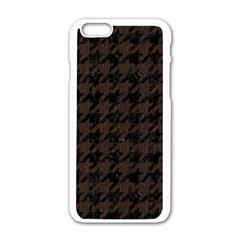 Houndstooth1 Black Marble & Dark Brown Wood Apple Iphone 6/6s White Enamel Case by trendistuff