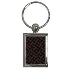 Houndstooth2 Black Marble & Dark Brown Wood Key Chains (rectangle)  by trendistuff