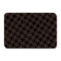 Houndstooth2 Black Marble & Dark Brown Wood Plate Mats by trendistuff
