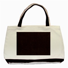Hexagon1 Black Marble & Dark Brown Wood Basic Tote Bag by trendistuff