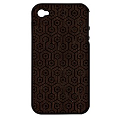 Hexagon1 Black Marble & Dark Brown Wood Apple Iphone 4/4s Hardshell Case (pc+silicone) by trendistuff
