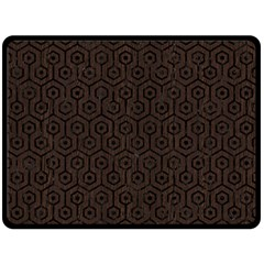Hexagon1 Black Marble & Dark Brown Wood Double Sided Fleece Blanket (large)  by trendistuff