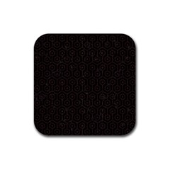 Hexagon1 Black Marble & Dark Brown Wood (r) Rubber Square Coaster (4 Pack)  by trendistuff