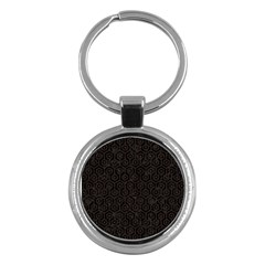 Hexagon1 Black Marble & Dark Brown Wood (r) Key Chains (round)  by trendistuff
