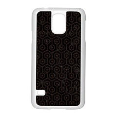 Hexagon1 Black Marble & Dark Brown Wood (r) Samsung Galaxy S5 Case (white) by trendistuff