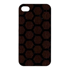 Hexagon2 Black Marble & Dark Brown Wood Apple Iphone 4/4s Hardshell Case by trendistuff