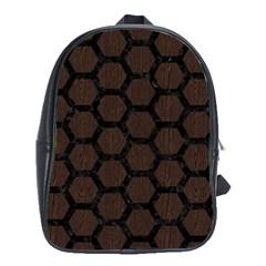 Hexagon2 Black Marble & Dark Brown Wood School Bag (xl) by trendistuff