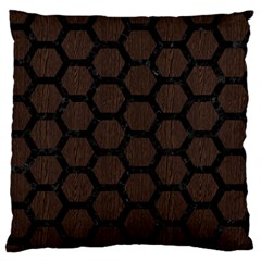Hexagon2 Black Marble & Dark Brown Wood Standard Flano Cushion Case (two Sides) by trendistuff