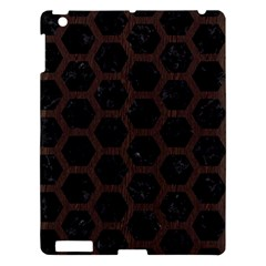 Hexagon2 Black Marble & Dark Brown Wood (r) Apple Ipad 3/4 Hardshell Case by trendistuff