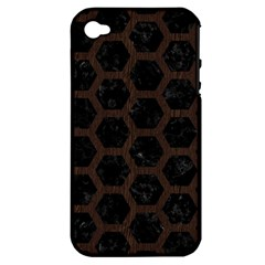 Hexagon2 Black Marble & Dark Brown Wood (r) Apple Iphone 4/4s Hardshell Case (pc+silicone) by trendistuff
