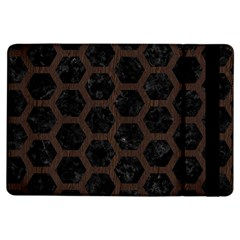 Hexagon2 Black Marble & Dark Brown Wood (r) Ipad Air Flip by trendistuff