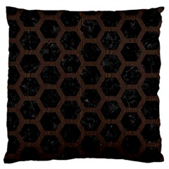 Hexagon2 Black Marble & Dark Brown Wood (r) Large Flano Cushion Case (two Sides) by trendistuff