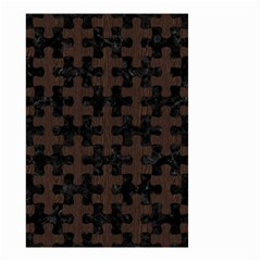 Puzzle1 Black Marble & Dark Brown Wood Small Garden Flag (two Sides) by trendistuff