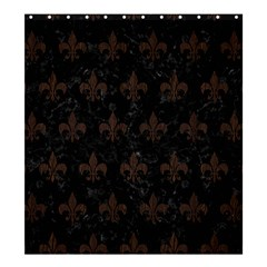 Royal1 Black Marble & Dark Brown Wood Shower Curtain 66  X 72  (large)  by trendistuff