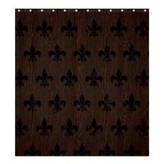 Royal1 Black Marble & Dark Brown Wood (r) Shower Curtain 66  X 72  (large)  by trendistuff