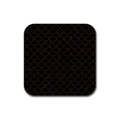 Scales1 Black Marble & Dark Brown Wood (r) Rubber Square Coaster (4 Pack)  by trendistuff