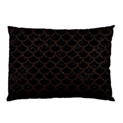 Scales1 Black Marble & Dark Brown Wood (r) Pillow Case by trendistuff