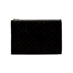 Scales1 Black Marble & Dark Brown Wood (r) Cosmetic Bag (medium)  by trendistuff
