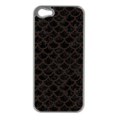 Scales1 Black Marble & Dark Brown Wood (r) Apple Iphone 5 Case (silver) by trendistuff
