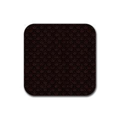 Scales2 Black Marble & Dark Brown Wood Rubber Square Coaster (4 Pack)  by trendistuff