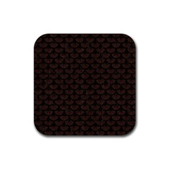 Scales3 Black Marble & Dark Brown Wood Rubber Square Coaster (4 Pack)  by trendistuff