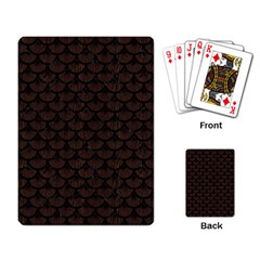 Scales3 Black Marble & Dark Brown Wood Playing Card by trendistuff