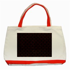 Scales3 Black Marble & Dark Brown Wood Classic Tote Bag (red) by trendistuff