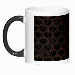 Scales3 Black Marble & Dark Brown Wood (r) Morph Mugs by trendistuff