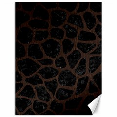 Skin1 Black Marble & Dark Brown Wood Canvas 12  X 16