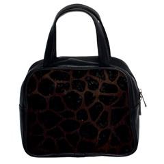 Skin1 Black Marble & Dark Brown Wood Classic Handbags (2 Sides) by trendistuff