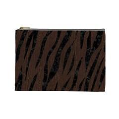 Skin3 Black Marble & Dark Brown Wood Cosmetic Bag (large)  by trendistuff
