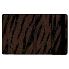 Skin3 Black Marble & Dark Brown Wood Apple Ipad 2 Flip Case by trendistuff