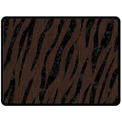 Skin3 Black Marble & Dark Brown Wood Double Sided Fleece Blanket (large)  by trendistuff