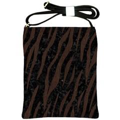 Skin3 Black Marble & Dark Brown Wood (r) Shoulder Sling Bags by trendistuff