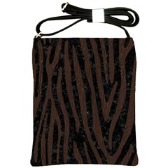Skin4 Black Marble & Dark Brown Wood Shoulder Sling Bags by trendistuff