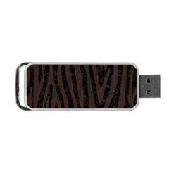 Skin4 Black Marble & Dark Brown Wood Portable Usb Flash (two Sides) by trendistuff