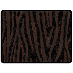 Skin4 Black Marble & Dark Brown Wood Double Sided Fleece Blanket (large)  by trendistuff