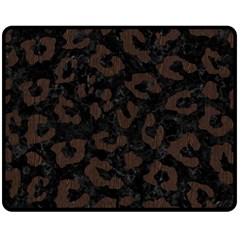 Skin5 Black Marble & Dark Brown Wood Fleece Blanket (medium)