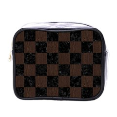 Square1 Black Marble & Dark Brown Wood Mini Toiletries Bags by trendistuff
