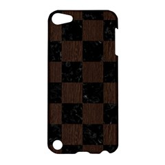 Square1 Black Marble & Dark Brown Wood Apple Ipod Touch 5 Hardshell Case by trendistuff