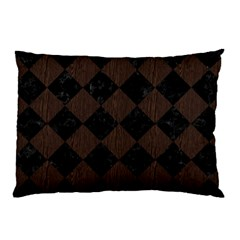 Square2 Black Marble & Dark Brown Wood Pillow Case by trendistuff