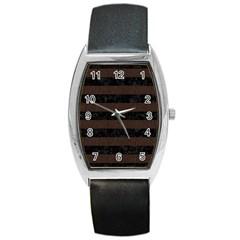 Stripes2 Black Marble & Dark Brown Wood Barrel Style Metal Watch