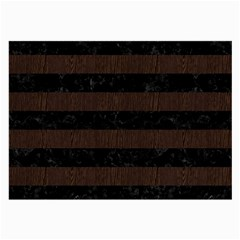 Stripes2 Black Marble & Dark Brown Wood Large Glasses Cloth by trendistuff