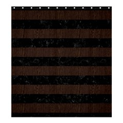 Stripes2 Black Marble & Dark Brown Wood Shower Curtain 66  X 72  (large)  by trendistuff