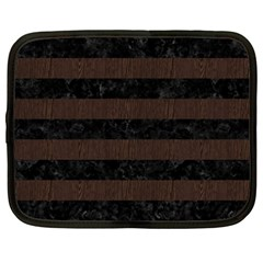 Stripes2 Black Marble & Dark Brown Wood Netbook Case (xxl)  by trendistuff
