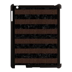 Stripes2 Black Marble & Dark Brown Wood Apple Ipad 3/4 Case (black) by trendistuff
