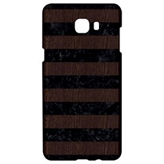 Stripes2 Black Marble & Dark Brown Wood Samsung C9 Pro Hardshell Case  by trendistuff