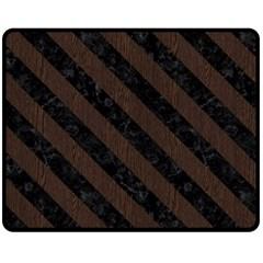 Stripes3 Black Marble & Dark Brown Wood Fleece Blanket (medium)