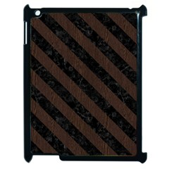 Stripes3 Black Marble & Dark Brown Wood Apple Ipad 2 Case (black) by trendistuff