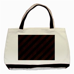 Stripes3 Black Marble & Dark Brown Wood (r) Basic Tote Bag (two Sides) by trendistuff